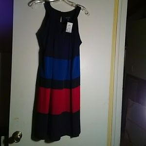 Enfocus Studio, black/blue/red dress, sz 14